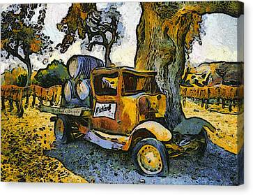 Blackjack Winery Truck Santa Ynez California Canvas Print by Barbara Snyder