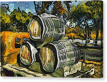 Old Trucks Canvas Print - Blackjack Winery Wine Barrels by Barbara Snyder