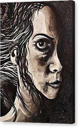 Canvas Print featuring the painting Blackportrait 8 by Sandro Ramani