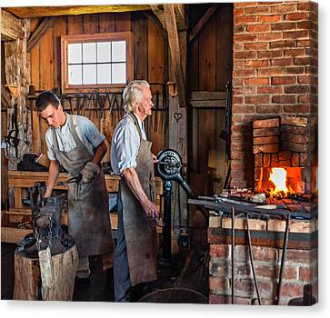 Pioneer Museum Canvas Print - Blacksmith And Apprentice 2 by Steve Harrington