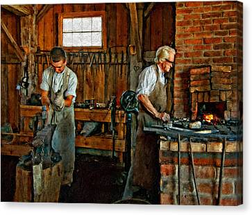 Blacksmith And Apprentice Impasto Canvas Print by Steve Harrington