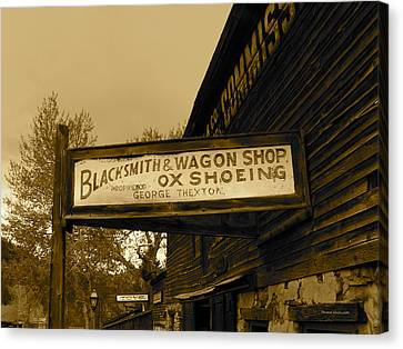 Blacksmith And Ox Shoeing Signage Canvas Print