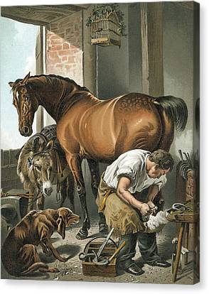 Horse Stable Canvas Print - Blacksmith by Sir Edwin Landseer