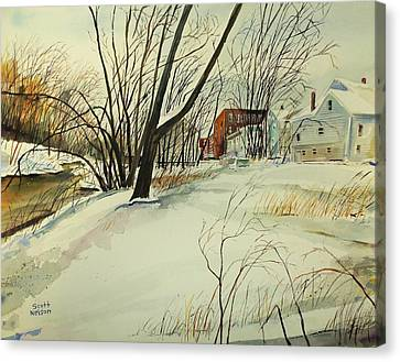 Millbury Canvas Print - Blackstone River Snow  by Scott Nelson