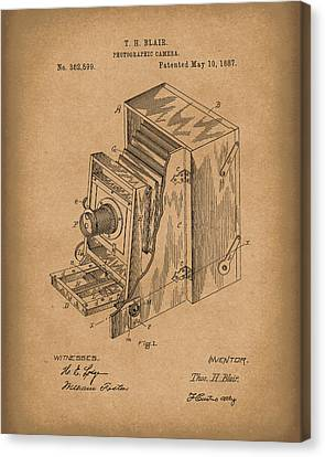Camera Canvas Print - Blair Photographic Camera 1887 Patent Art Brown by Prior Art Design
