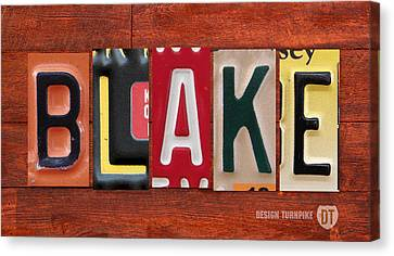 Blake License Plate Name Sign Fun Kid Room Decor Canvas Print by Design Turnpike