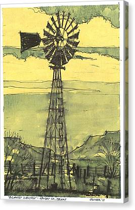Canvas Print featuring the mixed media Blanco Canyon Windmill by Tim Oliver