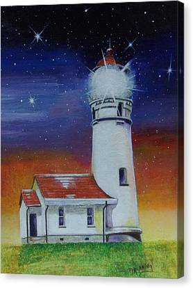 Canvas Print featuring the painting Blanco Lighthouse by Thomas J Herring