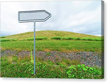 Blank Directional Sign In A Field Canvas Print by Wladimir Bulgar
