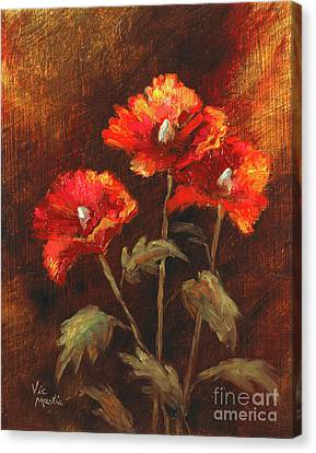 Canvas Print featuring the painting Blazing Poppies by Vic  Mastis