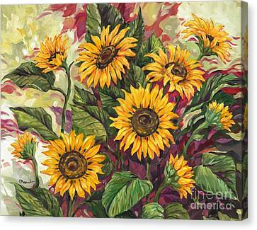 Blazing Sunflowers Canvas Print by Paul Brent