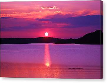 Canvas Print featuring the digital art Blazing Sunset by Lorna Rogers Photography