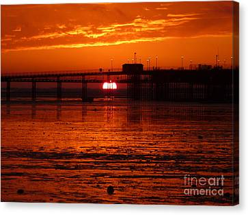 Canvas Print featuring the photograph Blazing Sunset by Vicki Spindler