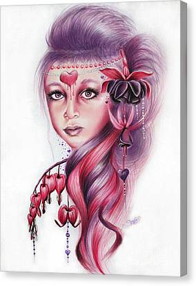 Canvas Print featuring the drawing Bleeding Heart by Sheena Pike
