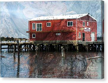 Blended Oregon Dock And Structure Canvas Print by Ron Hoggard
