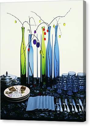 Blenko Glass Bottles Canvas Print by Rudy Muller