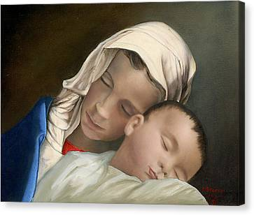 Baby Jesus And Blessed Mother Mary And Jesus Canvas Print