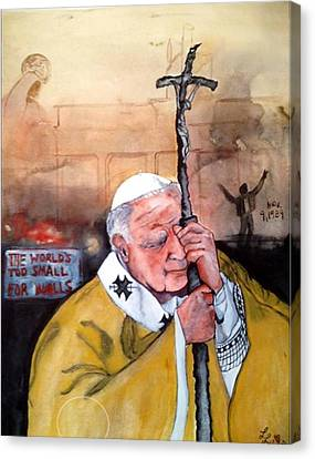 Blessed Pope John Paul II And Collapse Of Berlin Wall Canvas Print by Laura LaHaye