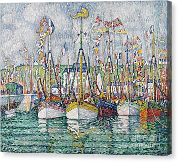 Blessing Of The Tuna Fleet At Groix Canvas Print by Paul Signac