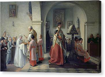 Blessing The Bread Canvas Print by Francois Archange Bodin