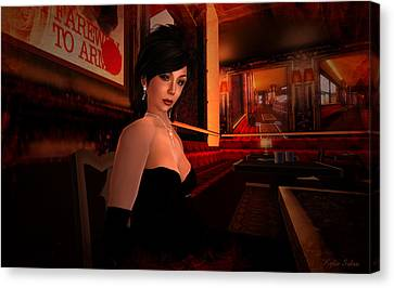 Canvas Print featuring the digital art Blind Date In A Paris Restaurant 1920s by Kylie Sabra