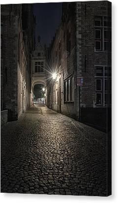 Night Lamp Canvas Print - Blind Donkey Alley Dawn by Joan Carroll
