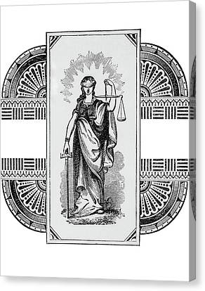 Woman Holding A Balance Canvas Print - Blind Justice Holding A Scale In Left by Vintage Images