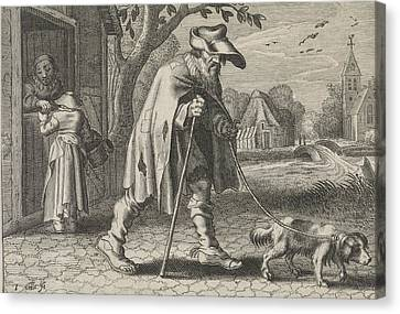 Blind Man Led By A Dog, Woman Before The Door Of Her House Canvas Print by Johann Gelle