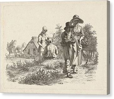 Blind Woman And Conversing Figures At A Farm Canvas Print by Artokoloro
