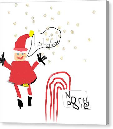 Blizzard In The North Pole Canvas Print by My seven year old