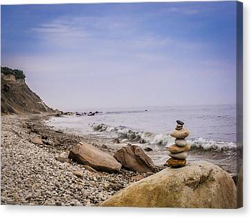 Canvas Print featuring the digital art Block Island Rocky Shore by Dawn Romine