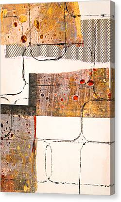 Blocks Abstract Mixed Media Collage Canvas Print by Nancy Merkle