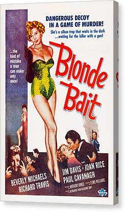 1956 Movies Canvas Print - Blonde Bait, Beverly Michaels, 1956 by Everett