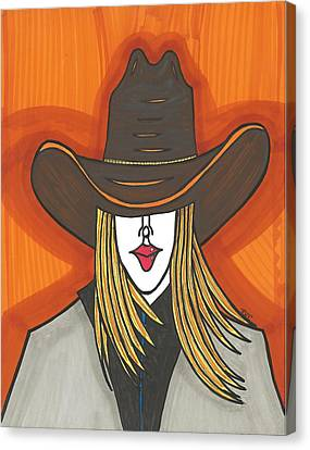 Blonde Cowgirl Canvas Print