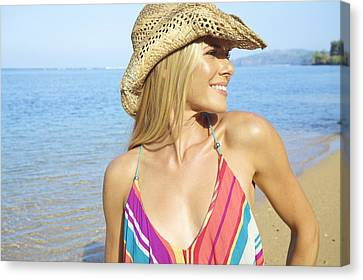 Blonde Woman In Hawaii Canvas Print by Kicka Witte