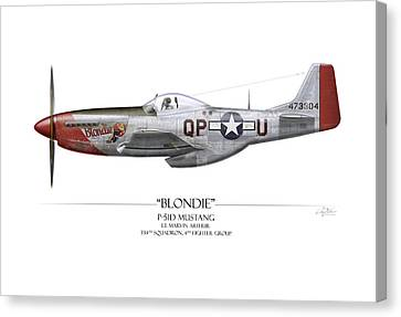 Blondie P-51d Mustang - White Background Canvas Print