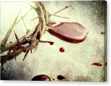 Jesus Christ Icon Canvas Print - Blood And Thorns by Stephanie Frey