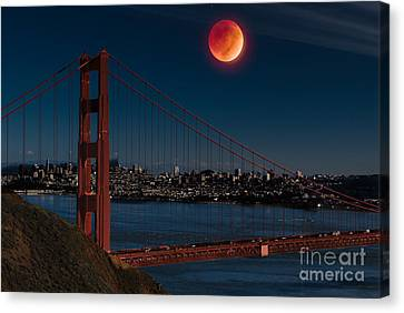 Blood Moon Over Golden Gate Bridge Canvas Print by Dan Hartford