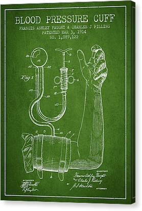 Blood Pressure Cuff Patent From 1914 -green Canvas Print by Aged Pixel