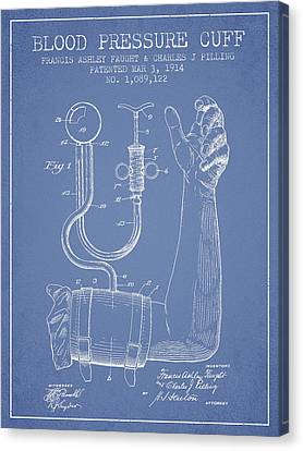 Blood Pressure Cuff Patent From 1914 -light Blue Canvas Print by Aged Pixel