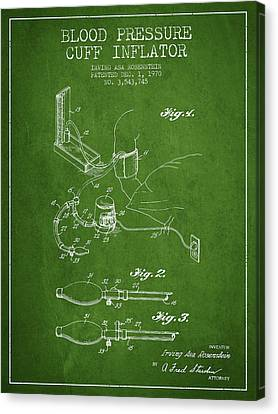 Blood Pressure Cuff Patent From 1970 - Green Canvas Print by Aged Pixel