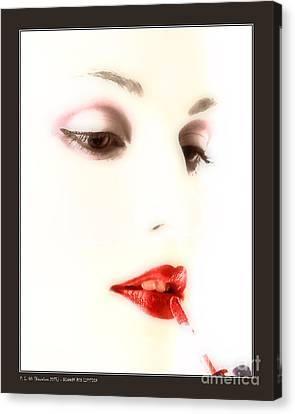 Blood Red Lipstick Canvas Print by Pedro L Gili