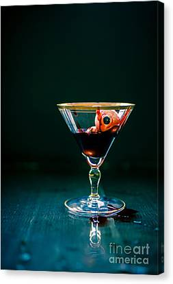 Bloody Eyeball In Martini Glass Canvas Print by Edward Fielding