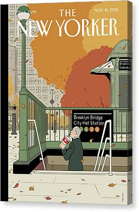 Subway Canvas Print - Bloomberg Drinks A Soda As He Prepares To Leave by Adrian Tomine