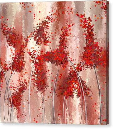 Blooming Passion- Marsala Art Canvas Print by Lourry Legarde