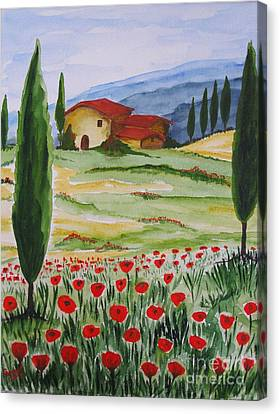 Blooming Poppy In Tuscany Canvas Print by Christine Huwer