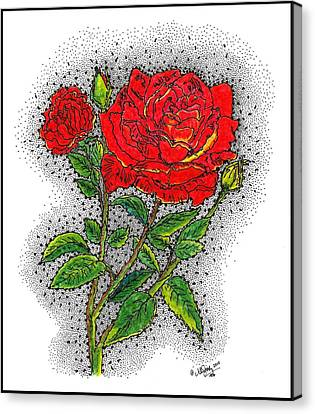 Inspirational. Pointillism Canvas Print - Blooming Too by Glenn McCarthy Art and Photography