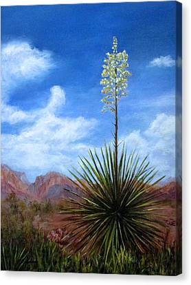 Canvas Print featuring the painting Blooming Yucca by Roseann Gilmore
