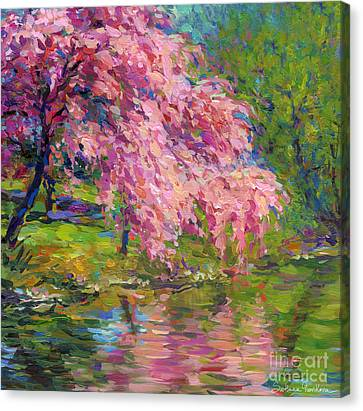 Giclee Trees Canvas Print - Blossoming Trees Landscape  by Svetlana Novikova