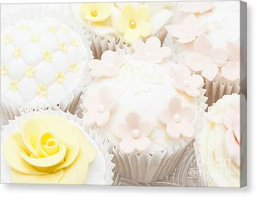 Blossoms And Bows Cupcake Canvas Print by Anne Gilbert